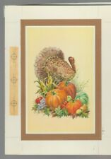 "TURKEY w/ 4 Pumpkins & Fruit 6.5x8.75"" #7928 Thanksgiving Greeting Card Art"
