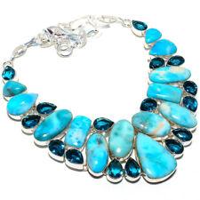 "Caribbean Larimar, Blue Topaz Gemstone Handmade Jewelry Necklace 18"""