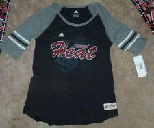 New Adidas Nba Miami Heat Basketball T Shirt Youth Girls Xl 18 Nwt