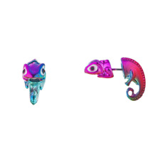 Lux Accessories Rainbow Iguana Lizard AnimalEarring Jackets