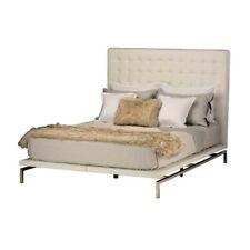 "85.8"" L Lawson King Bed White Naugahyde Headboard Polished Stainless Steel Legs"