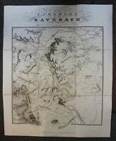 """Kupferstich teilkoloriert """"Die Schlacht an der Katzbach"""" 1821 Polen Ortskunde sf"""
