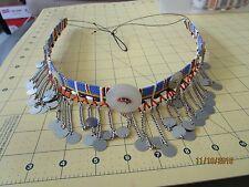 Button Choker dangle c African Maasai or Masai Beaded