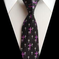 Krawatte: Motiv KREUZ - Jesus Christus - Tolle Geschenkidee! (lila) *NEU* °CM°