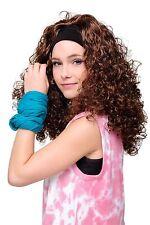 Perruque avec bandeau marron gloire de boucles années 80 DANCING FITNESS AEROBIC
