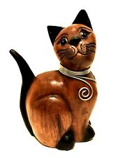 Wooden Cat Figurine Hand Carved Kitten with Wire Necklace 9.25 inches Tall