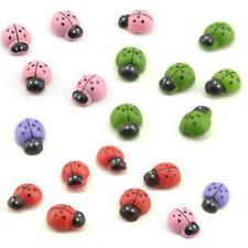 100PCS Mixed Ladybird Mini Beetle Adhesive Wooden Ladybugs Card Wood Sticker A+