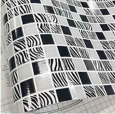Zebra Tile White Black Home Deco Self Adhesive Peel-Stick Wallpaper