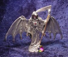 Pewter GRIM REAPER Wings DOWN - RED Eyes & Colorful Crystal Accent