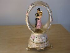 Dancing Couple Wedding Egg Music Box Pink Flowers Simulated Diamonds