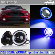 2X 3'' Inch Round LED Projector Fog Light Blue COB Angel Eyes Halo 4X4 ATV Truck