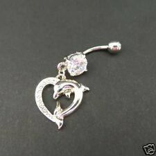 Dolphin Heart Belly Ring Navel Bar Clear Cz Gem Surgical Steel Dolphin Charm New
