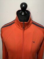 Diadora Vintage Retro Sports Red Tracksuit Trackie Jacket Zip Top M 40 VGC