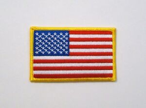 "USA American Flag Iron On Patch 3.5"" x 2.25"" New"