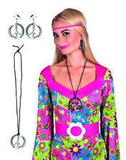 Deguisement hippie femme collier et boucles d'oreilles accessoire peace 60 70