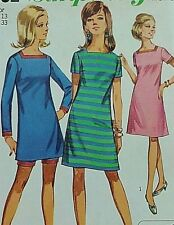 Vintage 1960s sewing pattern Simplicity 7162 square neck dress short 33 bust new