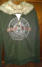 Aeropostale Jr Medium Faux Fur Lined Hoodie Brown Jacket Full Zip EUC Ships Free