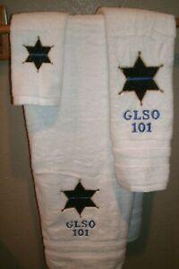 Sheriff Badge Police Thin Blue Line Personalized 3 Piece Bath Towel Set