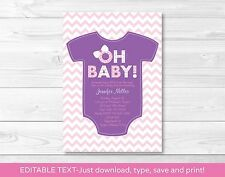 """Oh Baby!"" Pink Chevron Baby Girl Printable Baby Shower Invitation Editable PDF"