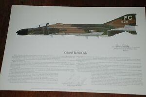 Robin Olds, Autographed F-4, Phantom, Print, Artist Ernie Boyette