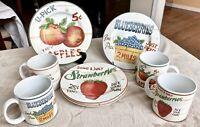 Sakura Farmstand Fruit Cups Mugs and Dessert Plates - SET of 4