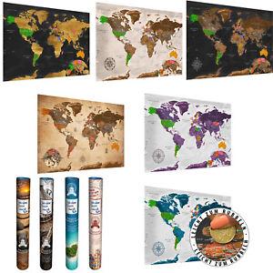 Rubbel Weltkarte klein Landkarte zum rubbeln Rubbelkarte laminiert scratch off