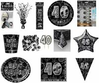 Glitz Black/Silver 40th Birthday Party Tableware Decoration Plates Banners Age40