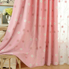 Flower Embroidered Sheer Curtains Tulle Blackout Cloth Shade Drapery Pink 1Piece