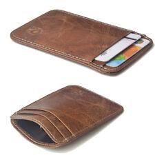 Mens Slim Minimalist Front Pocket Wallet Genuine Leather Credit Card ID Holder S