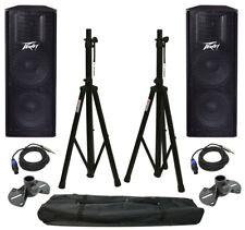 "(2) Peavey Pv215 Pro DJ Dual 15"" Passive 1400W Speaker W/ Tripod Stands & Cables"