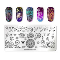 NICOLE DIARY Rectangle Nagel Schablone Cupid Pattern Nail Stamp Plate ND-024