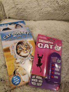 Cat Bonnet (Cotton w/ satin lining) & Emergency Cat Noisemaker by Archie McPhee