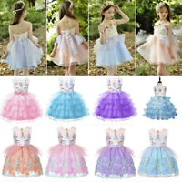 Kids Girl Unicorn Princess Dress Fancy Birthday Costume Cosplay Party Pageant
