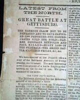 VERY Rare CONFEDERATE Richmond Va BATTLE OF GETTYSBURG 1863 Civil War BROADSIDE