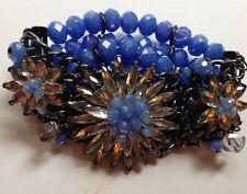 Massive Austrian Crystals & Blue Aurora Borealis Silver Tone Bracelet width 50mm