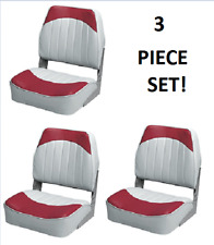 Folding Boat Seats 3-PC   Boat Fishing Pontoon Set RED/GREY Embossed Vinyl Wise