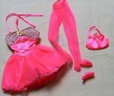 BARBIE DOLL BRIGHT PINK FANCY SHORT DRESS PANTYHOSE PURSE & SHOES