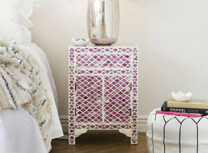 Handmade Bone Inlay Marrakesh Pink Wooden Bedside Table