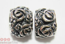 New 925 Sterling Silver Flowers Spacer Charm Beads. Genuine Source. Set Of 2