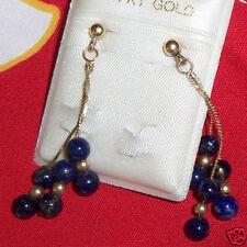 Hawaiian Dangling Blue Black Earring 14K Gold~Hawaii