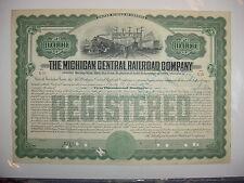 $10,000 Michigan Central Railroad Company Bond Stock Certificate Series of 1909