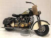 Metal Tin Black White Motor Bike Model Harley Davidson Indian Chief Style '34cm'