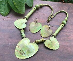 Artisan Statement Necklace & Earrings Green Metal