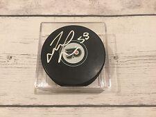 Taylor Leier Signed Autographed Philadelphia Flyers Hockey Puck b