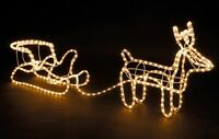 Large Christmas Reindeer & Sleigh Light Up Outdoor Garden LED Rope Decoration