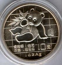 Cina 10 Yuan 1989 ORSO PANDA @ 1 oncia argento puro @