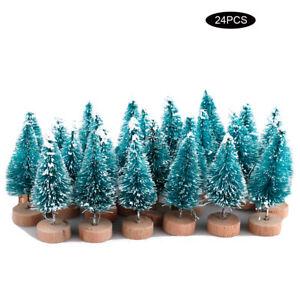 24pcs Mini Sisal Christmas Tree Ornament Desktop Tree Crafting Party Decor hot