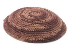 Knitted KIPPAH with Brown Mosaic spiral Design. . . . Yarmulke Kippa Kipa Israel