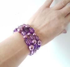 Beautiful set of 3 PURPLE pearl & bead elasticated bead bracelets