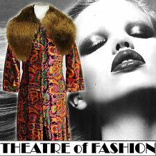 COAT DRESS VELVET 60s 70s VINTAGE ARISTOS ICONIC 6 8 10 BOHO WEDDING HIPPY ART